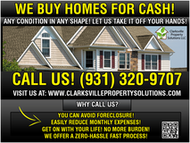 WE BUY HOMES FOR CASH in Fort Campbell, Kentucky