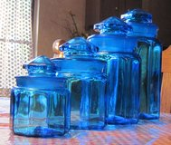 Blue Glass Canister Set in Alamogordo, New Mexico