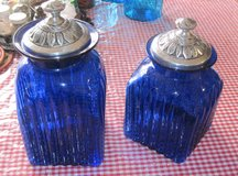 Pair of Cobalt Blue Canister Jars in Alamogordo, New Mexico