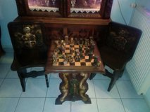 Hand made wood chess board and chairs in Spangdahlem, Germany