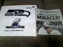 "*** Seahawks 2015 NFC Championship ""MIRACLE"" Seattle Times Newspaper & Rally Towel *** in Fort Lewis, Washington"