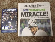 "*** Seahawks 2015 NFC Championship ""MIRACLE"" Seattle Times Newspaper & ""GAMEDAY"" Program*** in Fort Lewis, Washington"