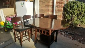 Dark high table and chairs! Wine rack/Drop Leaf/Lazy Susan in Fairfax, Virginia
