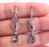 New - Pink Fire Opal and Rainbow Topaz Earrings in Alamogordo, New Mexico