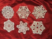 Homemade lace snowflake ornaments in Beaufort, South Carolina