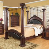 Roman empire canopy 4 post bed, dark cherry! KING size!! in Yorkville, Illinois