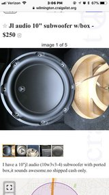 """10"""" jl audio subwoofer with ported box in Wilmington, North Carolina"""