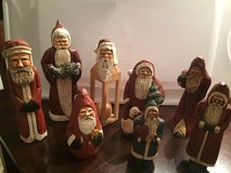 Large collection of hand carved and paper mache Santa's in Tinley Park, Illinois