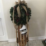 Sled with wreath and lights in Naperville, Illinois