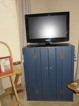 NICE!   NAVY BLUE WOOD TV MEDIA  WITH SIDE BOOKCASES - UNIQUE PIECE! in Westmont, Illinois