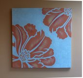 Orange flower canvas artwork painting in Glendale Heights, Illinois