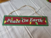 Christmas peace on earth sign decoration in Plainfield, Illinois