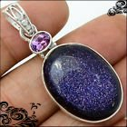 New - Sparkling Natural Navy Blue Sun Star Gemstone and Amethyst 925 Sterling Silver Pendant (In... in Alamogordo, New Mexico