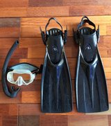 Mask, snorkel, and dive fins in Okinawa, Japan