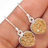 """New - Dainty Sparkling Hearts Golden Titanium Druzy 925 Sterling Silver 1"""" Earrings in Alamogordo, New Mexico"""