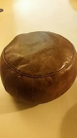 2 Round Brown Leather Ottoman Chair in Okinawa, Japan