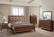 Claire Chocolate Hardwood Solids 5/0 Queen Lighted Bed FREE DELIVERY in Riverside, California