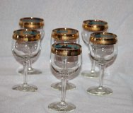 vintage brandy glasses gold rimmed and footed in Shreveport, Louisiana