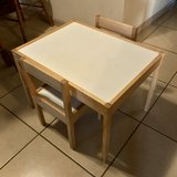 Kid's Wooden Table and 2 Chair Set EUC in Fairfield, California