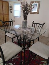 GLASS TOP METAL DINING SET w/4-chairs in 29 Palms, California