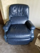 Dark blue Leather recliner chair EUC in Naperville, Illinois