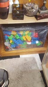Crate of giant lego building blocks in Yucca Valley, California