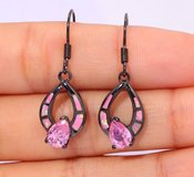 New - Dainty Pink fire Opal and Pink Topaz Black Earrings in Alamogordo, New Mexico
