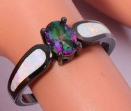 New - White Opal and Rainbow Topaz Black Ring - Size 6 in Alamogordo, New Mexico