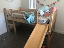 Solid wood twin loft bed with slide in Oceanside, California