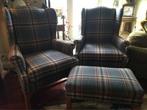 : )  FURNITURE SET:  2 WING-BACK CHIPPENDALE CHAIRS W/ OTTOMAN: Very Nice !!! in Naperville, Illinois