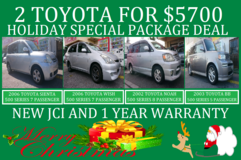 2 TOYOTA FOR $5700 HOLIDAY SPECIAL PACKAGE DEAL!! NEW JCI AND 1 YR WARRANTY!! in Okinawa, Japan