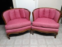 French Country Style Barrel Armchairs - A Pair in Kingwood, Texas