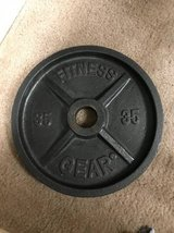 Pair of 35 pound Olympic iron weight plates in Oceanside, California