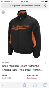 SF Giants therma base jacket in Fairfield, California
