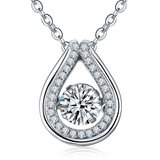 925 Sterling Silver Dancing Diamond Natural Topaz Pendant Necklace in Barstow, California