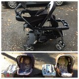 GRACO double stroller with compatible infant car seats and base in Fort Campbell, Kentucky