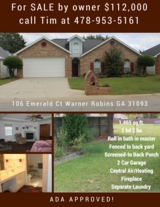 106 Emerald Court Warner Robins FOR SALE *ADA COMPLIANT* in Warner Robins, Georgia