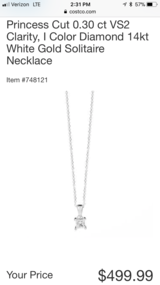 "Princess Cut 0.30 ct VS2 Clarity, I Color Diamond 14kt White Gold Solitaire Necklace"" in Travis AFB, California"
