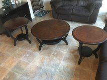 Ashley Furniture Round Circular Coffee Table and 2 round end tables brown expressi in Camp Pendleton, California