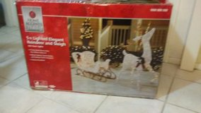 5ft. lighted reindeer and sleigh new. in Yucca Valley, California