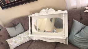 Shabby Chic French Provincial heavy wood over buffet shelf with mirror in Lake Elsinore, California