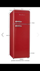 Red American Diner Retro Refrigerator with Freezer in Spangdahlem, Germany