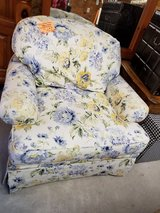 Blue & Yellow Floral on White Chair with Ottoman  #2003-358 in Camp Lejeune, North Carolina