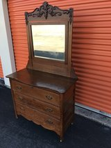 Tiger Oak Dresser w/ Beveled Mirror Heavy Carved Top in Camp Lejeune, North Carolina