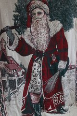 Vintage Saint Nicholas Christmas Woven Tapestry Afghan Blanket Throw in Warner Robins, Georgia
