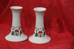 Christmas Porcelain Candlestick Holders Set of 2 in Warner Robins, Georgia