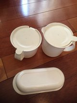 Tupperware cream and sugar bowls and butter tray in Plainfield, Illinois