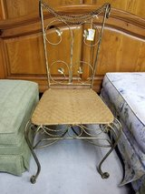 Gold Wrought Iron Chair with Wicker Seat #1594-2935 in Camp Lejeune, North Carolina