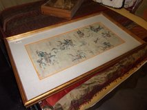 "Signed ""The Hunt"" Oriental Painting in Fort Riley, Kansas"