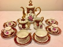 Complete demitasse set, tea set, expresso set decorated with pink roses in Ramstein, Germany